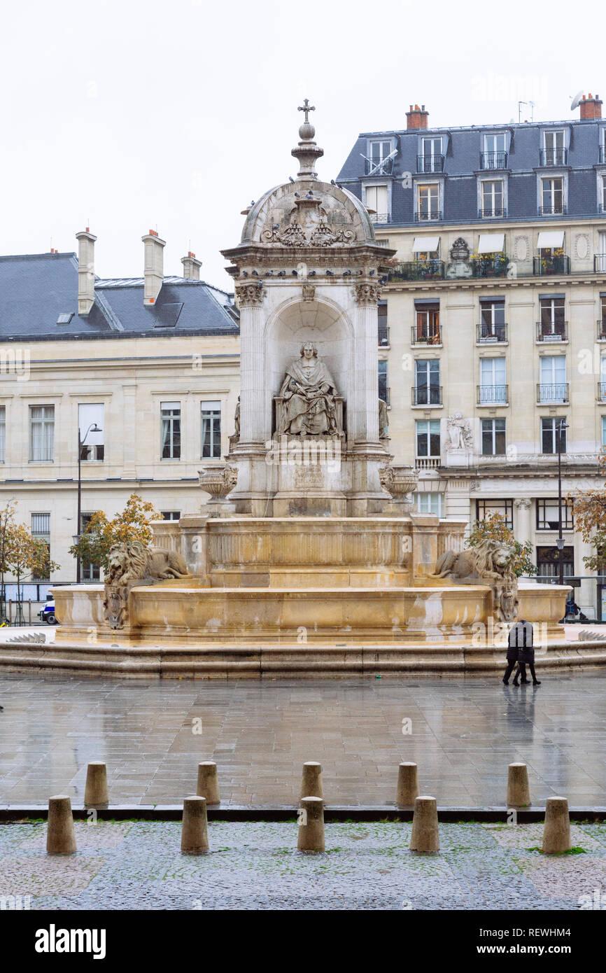 Paris (France) -  Place Saint-Sulpice and the Fontaine des Quatre Points Cardinaux Stock Photo