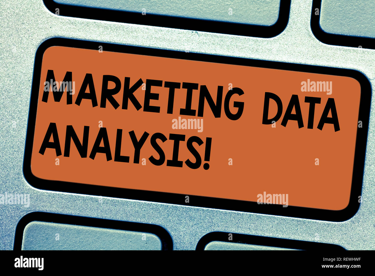 Word writing text Marketing Data Analysis. Business concept for Collecting data, scrutinized and make a conclusion Keyboard key Intention to create co - Stock Image