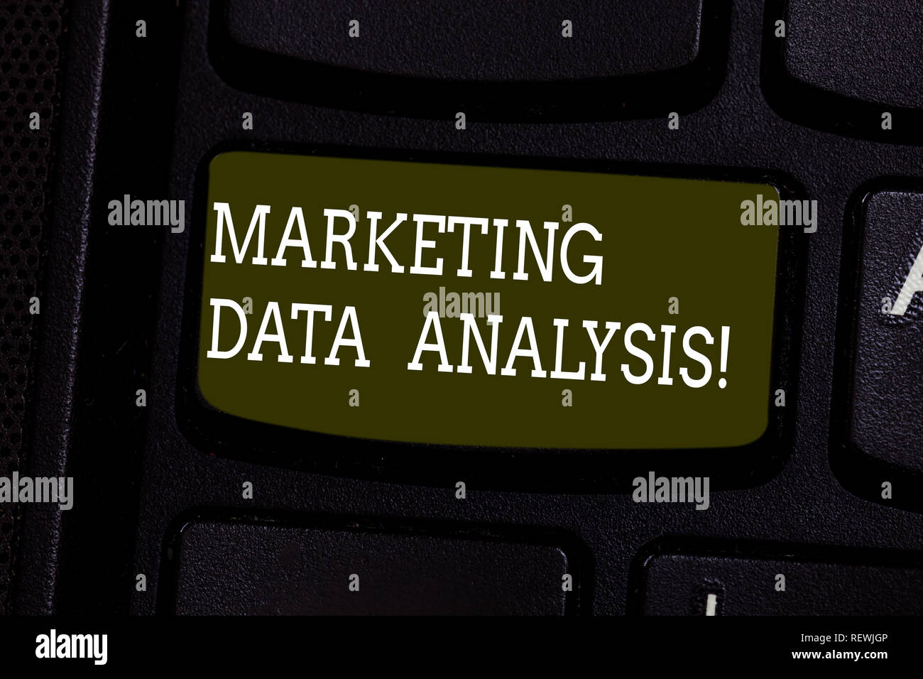 Text sign showing Marketing Data Analysis. Conceptual photo Collecting data, scrutinized and make a conclusion Keyboard key Intention to create comput - Stock Image