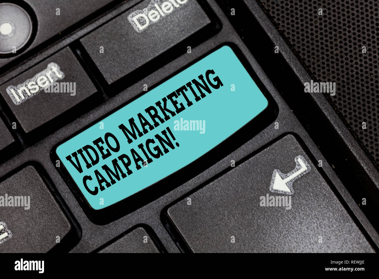 Conceptual hand writing showing Video Marketing Campaign. Business photo text Assessing the benefit of digital campaign Keyboard key Intention to crea - Stock Image