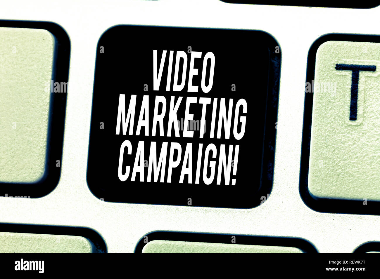 Text sign showing Video Marketing Campaign. Conceptual photo Assessing the benefit of digital campaign Keyboard key Intention to create computer messa - Stock Image