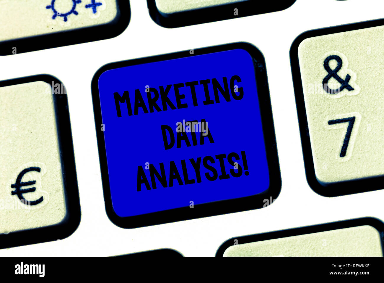 Conceptual hand writing showing Marketing Data Analysis. Business photo text Collecting data, scrutinized and make a conclusion Keyboard key Intention - Stock Image