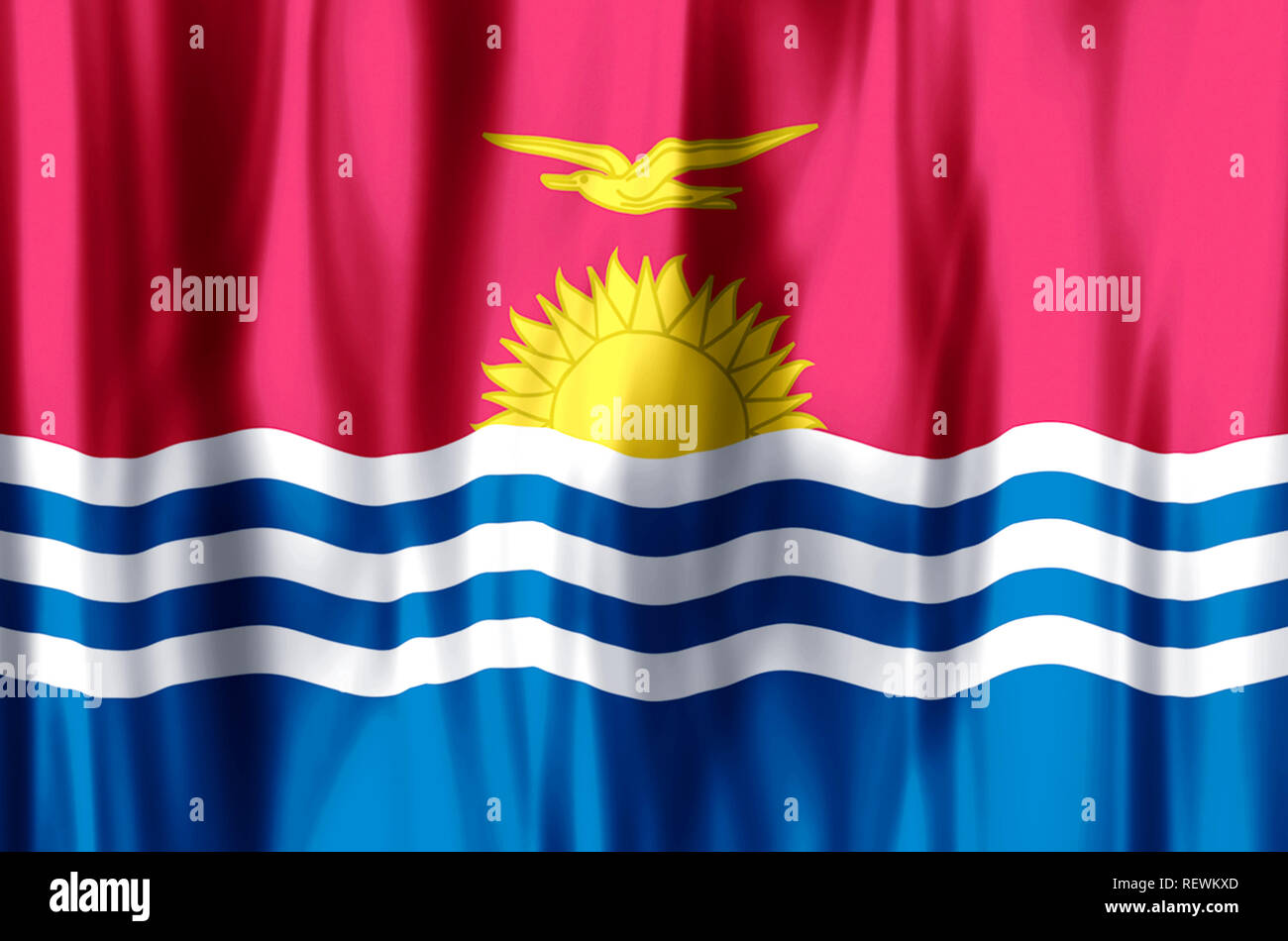 Kiribati stylish waving and closeup flag illustration. Perfect for background or texture purposes. - Stock Image