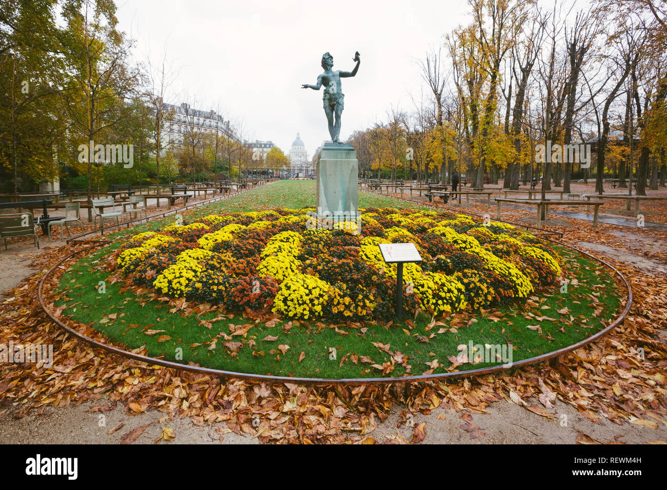 Paris (France) - L'Acteur Grec statue by Baron Bourgeois inside the Luxembourg Gardens Stock Photo