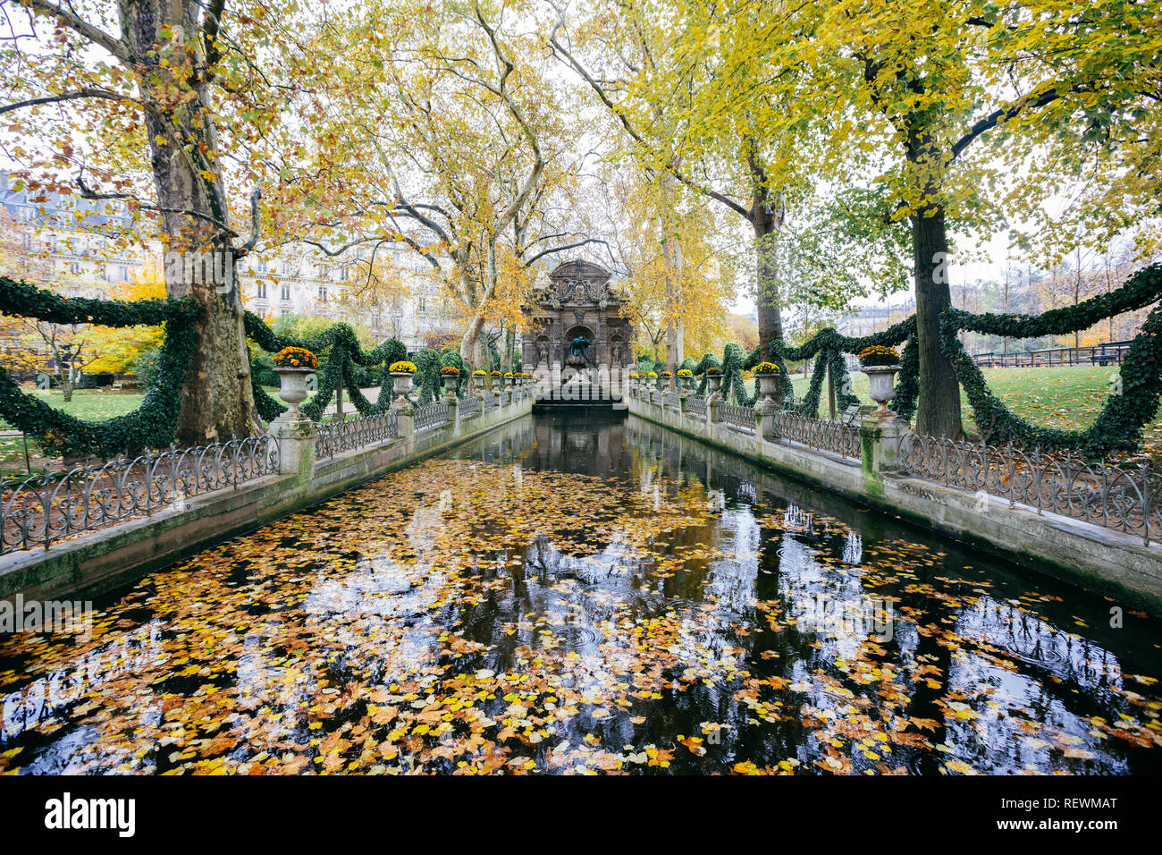 Paris (France) - The Medici Fountain is a monumental fountain in the Jardin du Luxembourg Stock Photo