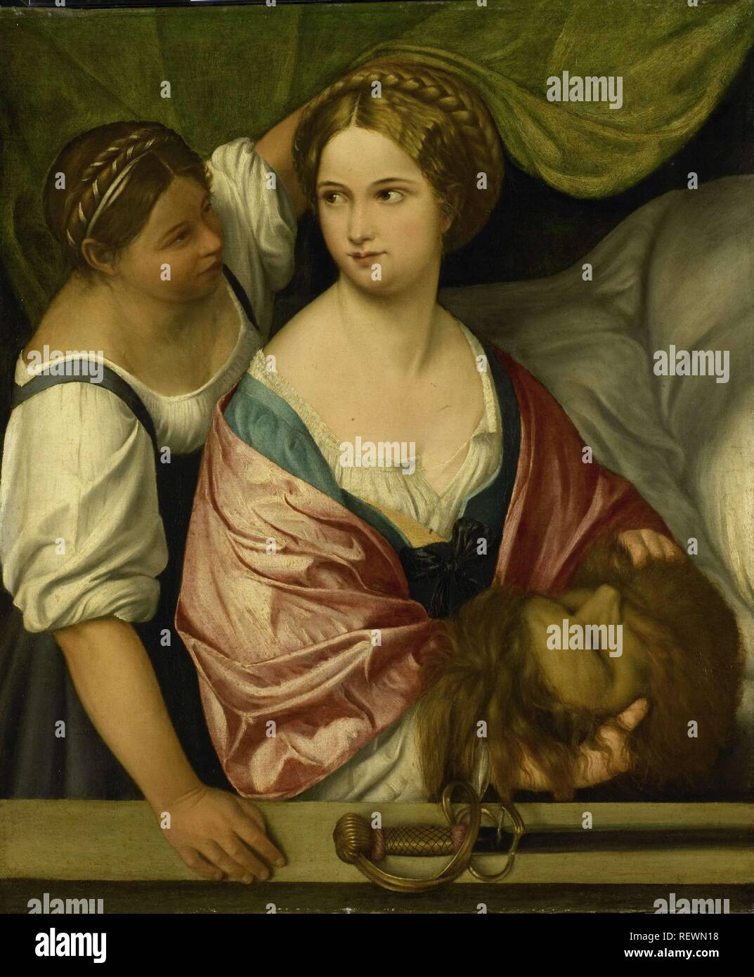 Judith with the Head of Holofernes. Dating: 1500 - 1539. Measurements: h 103.5 cm × w 86.5 cm; d 8 cm. Museum: Rijksmuseum, Amsterdam. Author: Pordenone (circle of). - Stock Image