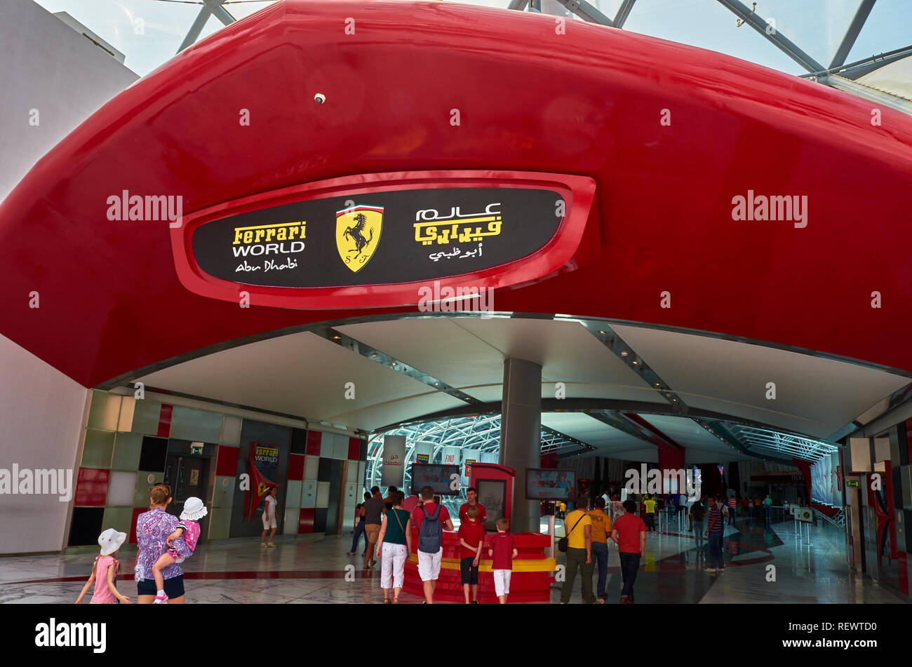 nside Ferrari World at Yas Island in Abu Dhabi in the United Arad Emirates. Ferrari World is the largest indoor amusement park in the world. - Stock Image