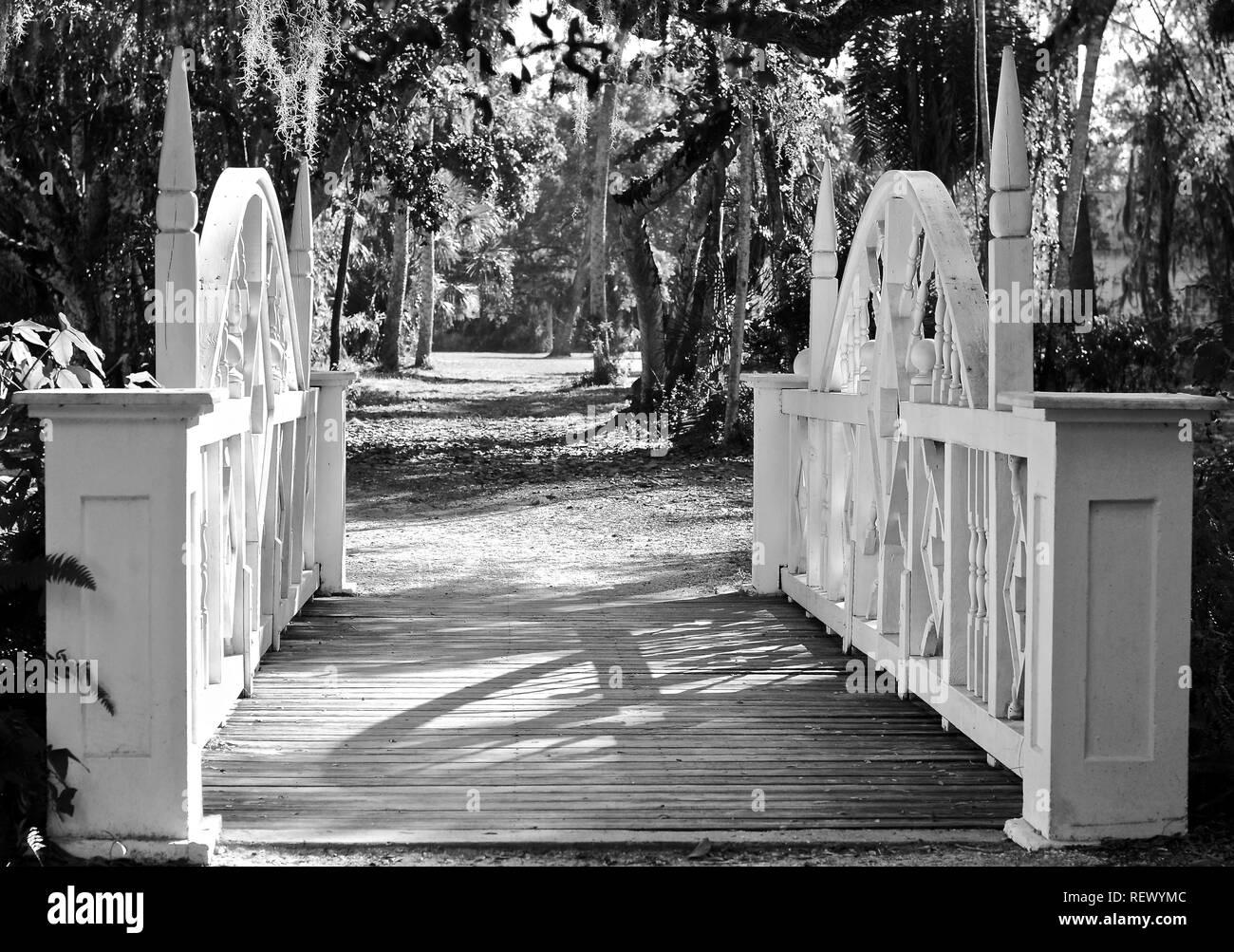 nature, footbridge, park, bridge, landscape, wood, tree, wooden, outdoor, scenic, landmark, vintage, old, beautiful, decorative, tourism, scenic lands - Stock Image