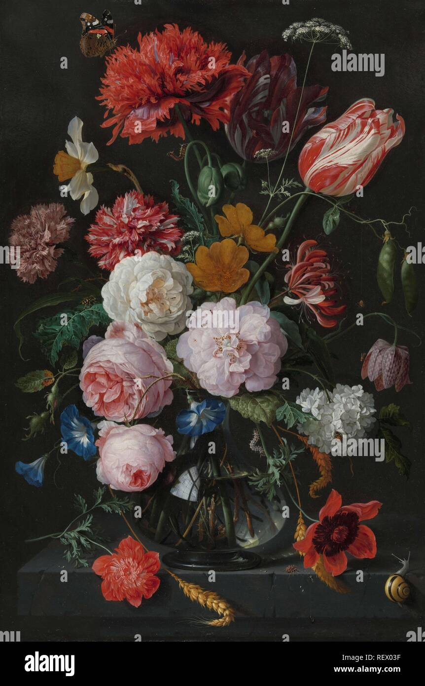 Still Life with Flowers in a Glass Vase. Dating: 1650 - 1683. Measurements: h 54.5 cm × w 36.5 cm; d 7.8 cm. Museum: Rijksmuseum, Amsterdam. Author: Jan Davidsz. de Heem. Rachel Ruysch (rejected attribution). Stock Photo