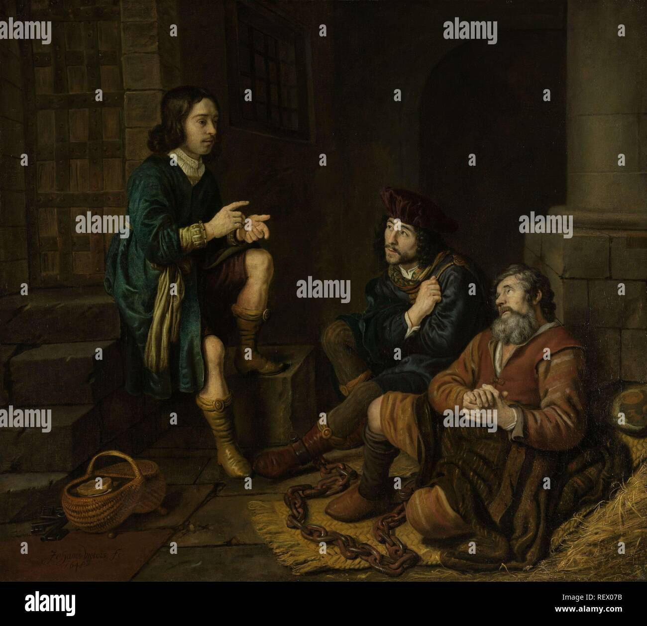 Joseph Interprets the Dreams of the Baker and the Butler. Dating: 1648. Measurements: h 120 cm × w 134 cm. Museum: Rijksmuseum, Amsterdam. Author: Jan Victors. - Stock Image