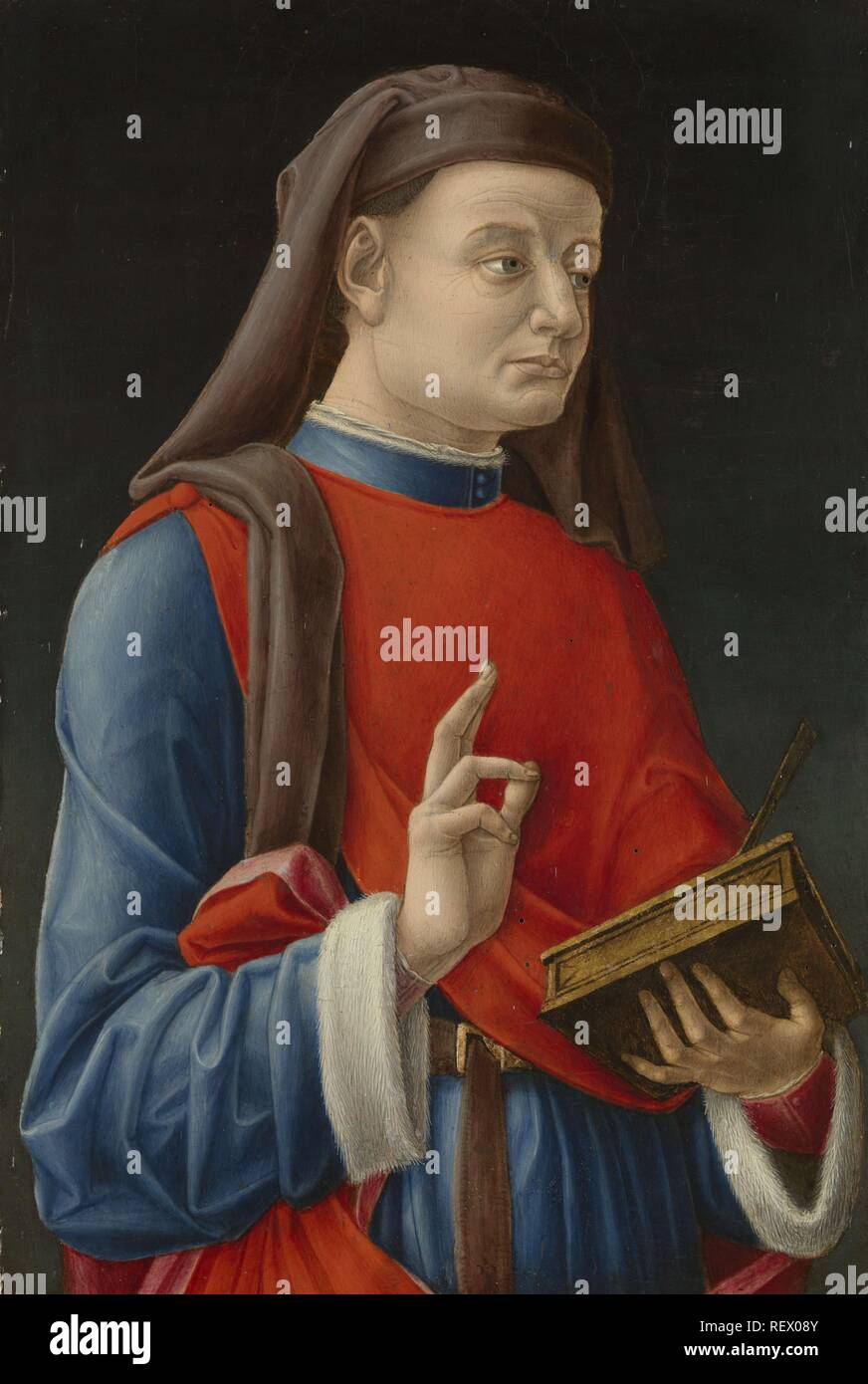 Saint Cosmas (or Damian). Dating: 1460 - 1480. Measurements: h 49.5 cm × w 33 cm; d 5.5 cm. Museum: Rijksmuseum, Amsterdam. Author: Bartolommeo Vivarini (attributed to). VIVARINI, BARTOLOMEO. Stock Photo