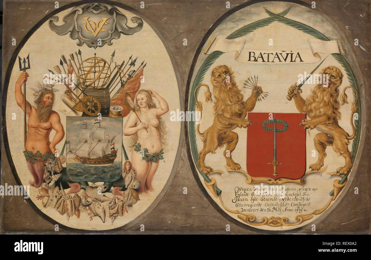 The Arms of the Dutch East India Company and of the Town of Batavia. Dating: 1651. Measurements: h 63 cm × w 97 cm. Museum: Rijksmuseum, Amsterdam. Author: Jeronimus Becx (II). - Stock Image