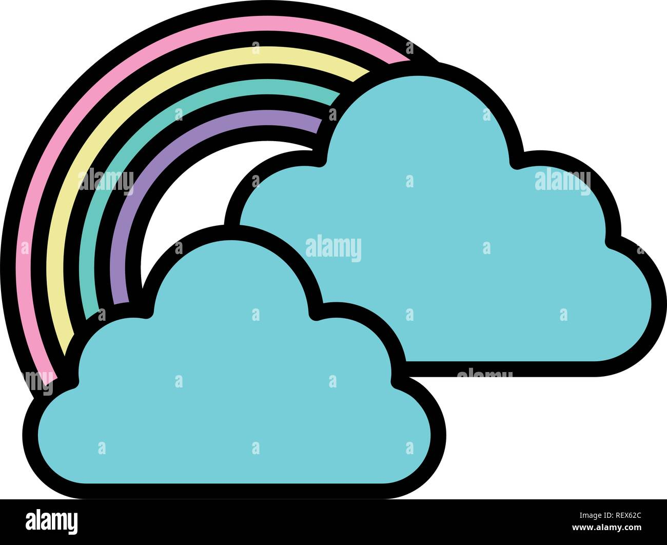clouds and rainbow over white background, vector illustration - Stock Image