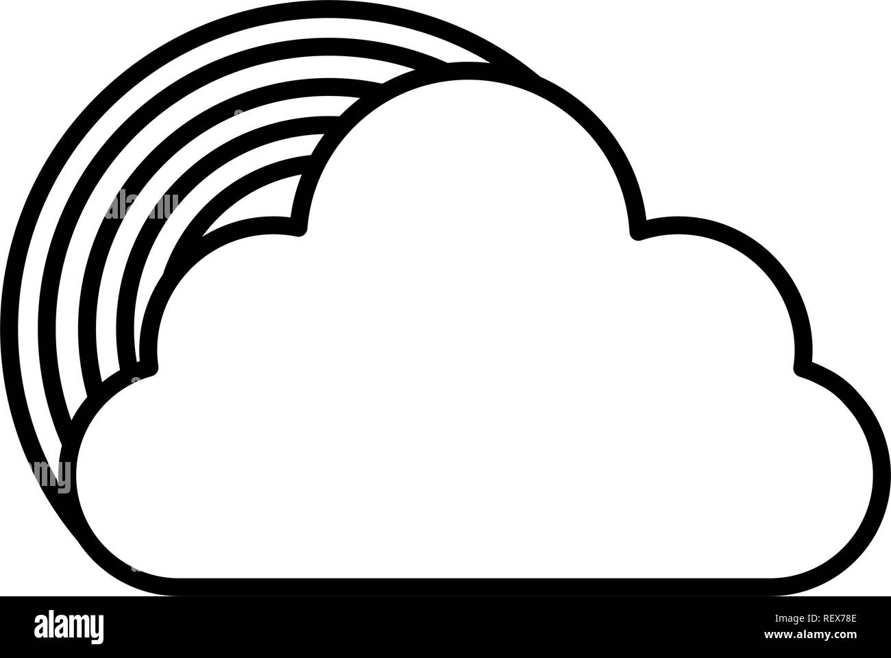 cloud and rainbow over white background, vector illustration - Stock Image