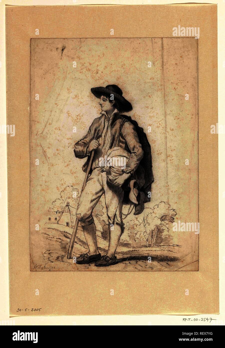 Young traveler. Draughtsman: Monogrammist WJ (possibly). Dating: 9-Jan-1847. Measurements: h 279 mm × w 202 mm. Museum: Rijksmuseum, Amsterdam. - Stock Image