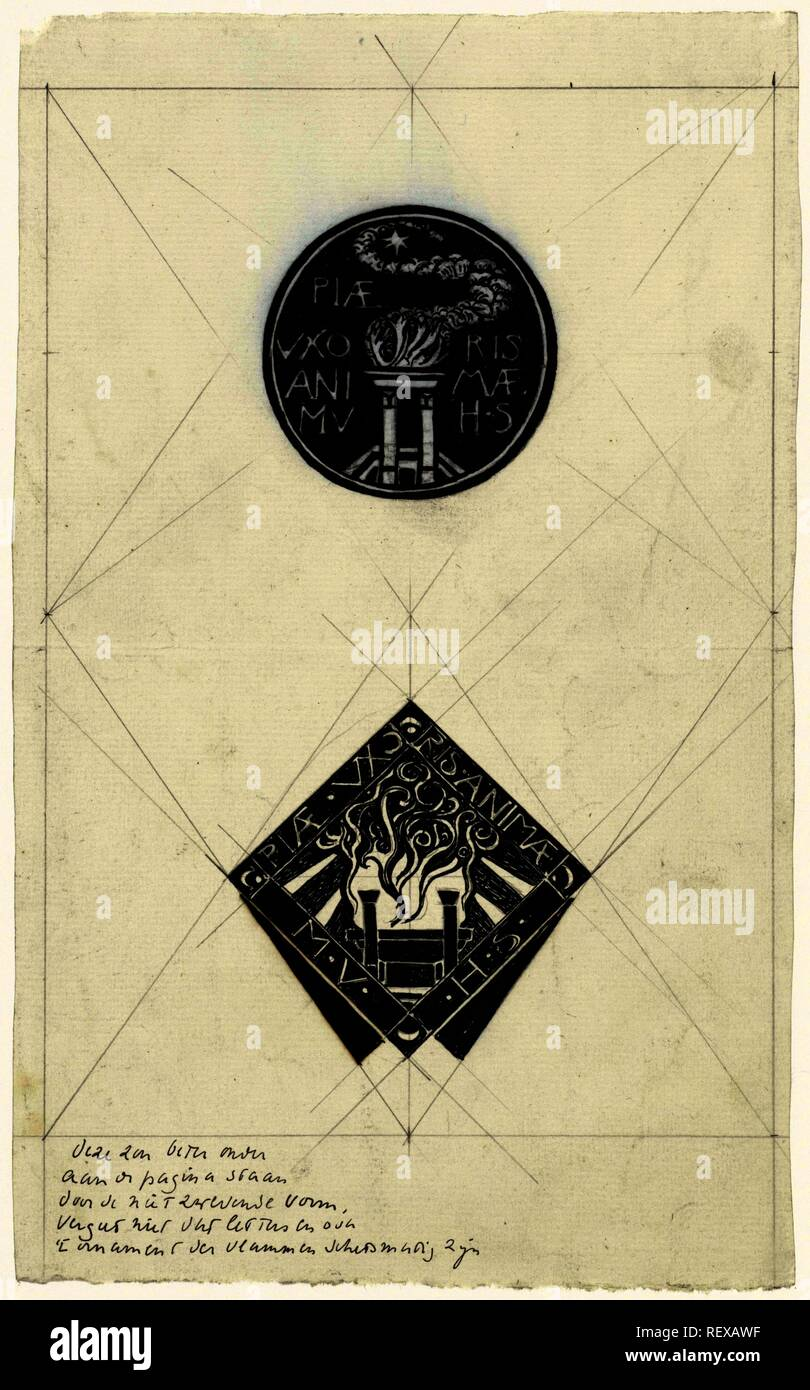 Two designs for a vignette Piae Uxoris Animae. Draughtsman: Richard Roland Holst. Dating: 1878 - 1938. Measurements: h 280 mm × w 172 mm. Museum: Rijksmuseum, Amsterdam. - Stock Image