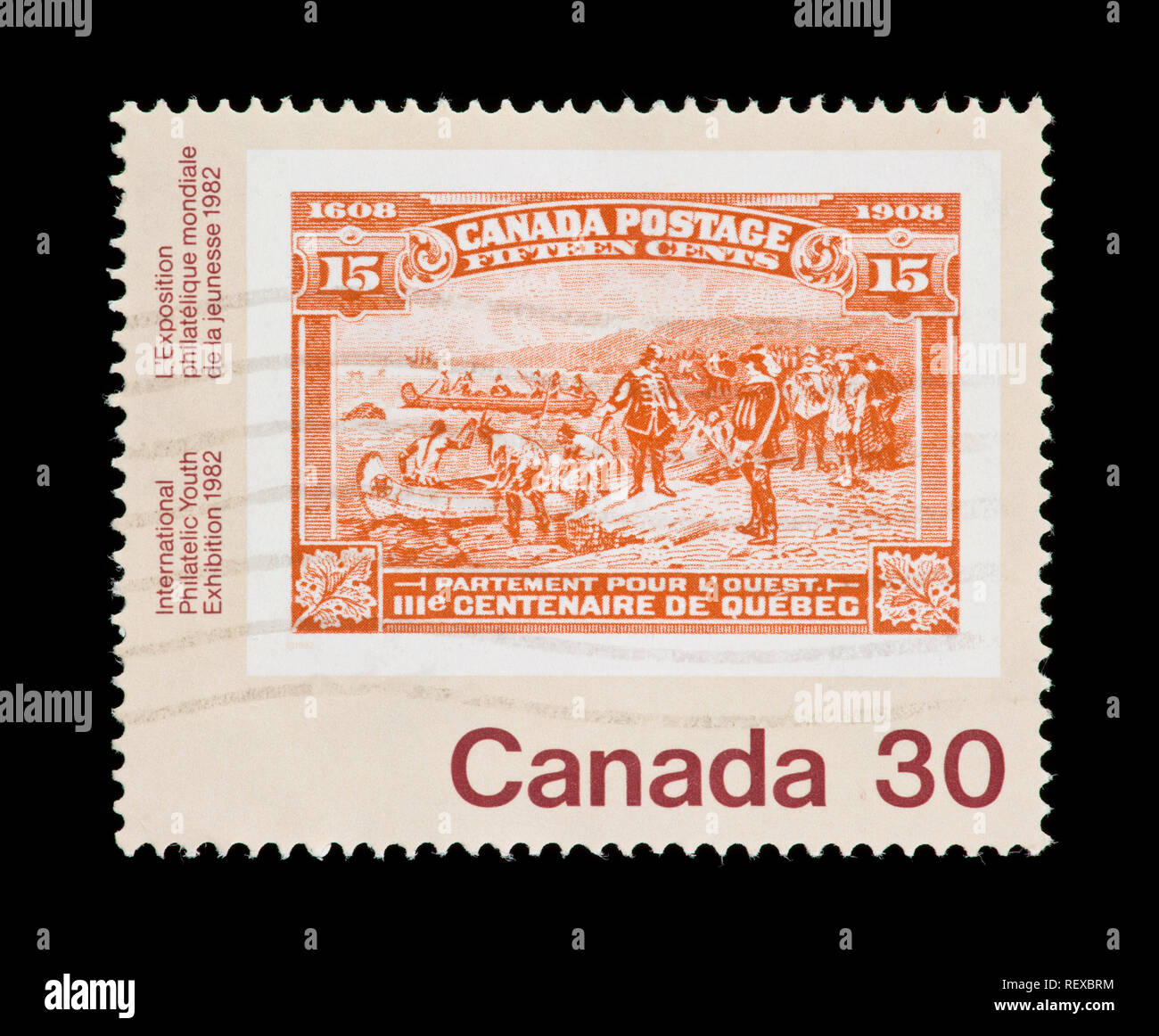 Postage stamp from Canada depicting a historical Canadian stamp, issued for the '91 International Philatelic Youth Exhibition in Toronto - Stock Image