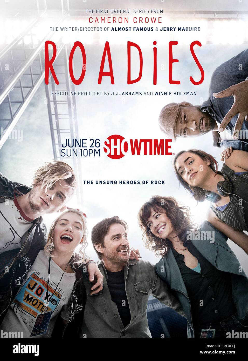 MACHINE GUN KELLY, IMOGEN POOTS, LUKE WILSON, CARLA GUGINO, KEISHA CASTLE-HUGHES & FINESSE MITCHELL POSTER  Character(s): Wesley, Kelly Ann, Bill, Shelli, Donna Mancini, Harvey  Television 'ROADIES' (2016)  13 June 2016  SAQ67423  Allstar Picture Library/LIBERTY SPIKES PRODUCTIONS  **WARNING** This Photograph is for editorial use only and is the copyright of LIBERTY SPIKES PRODUCTIONS  and/or the Photographer assigned by the TV or Production Company & can only be reproduced by publications in conjunction with the promotion of the above TV Programme. A Mandatory Credit To LIBERTY SPIKES PRODUCT - Stock Image