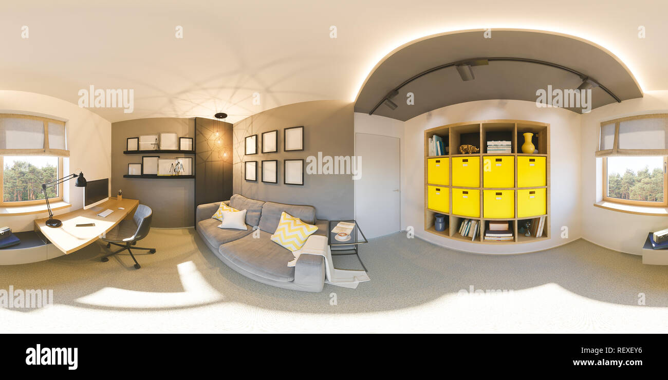 Seamless 360 vr home office panorama. 3d illustration of modern ...