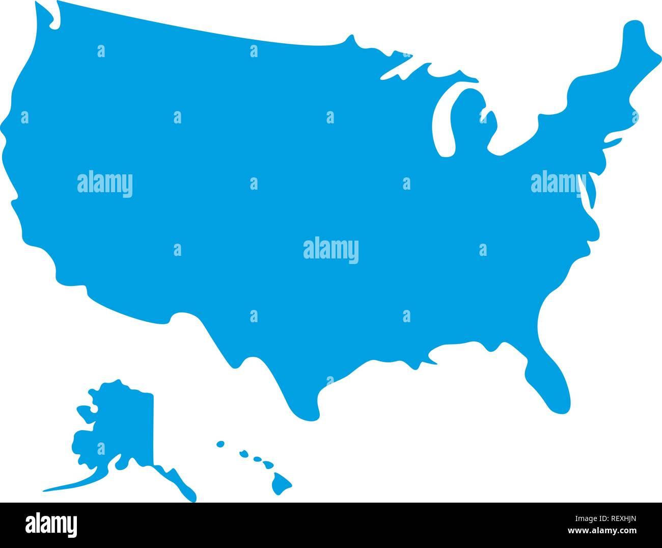 Map of USA. Silhouette map of United States of America ...