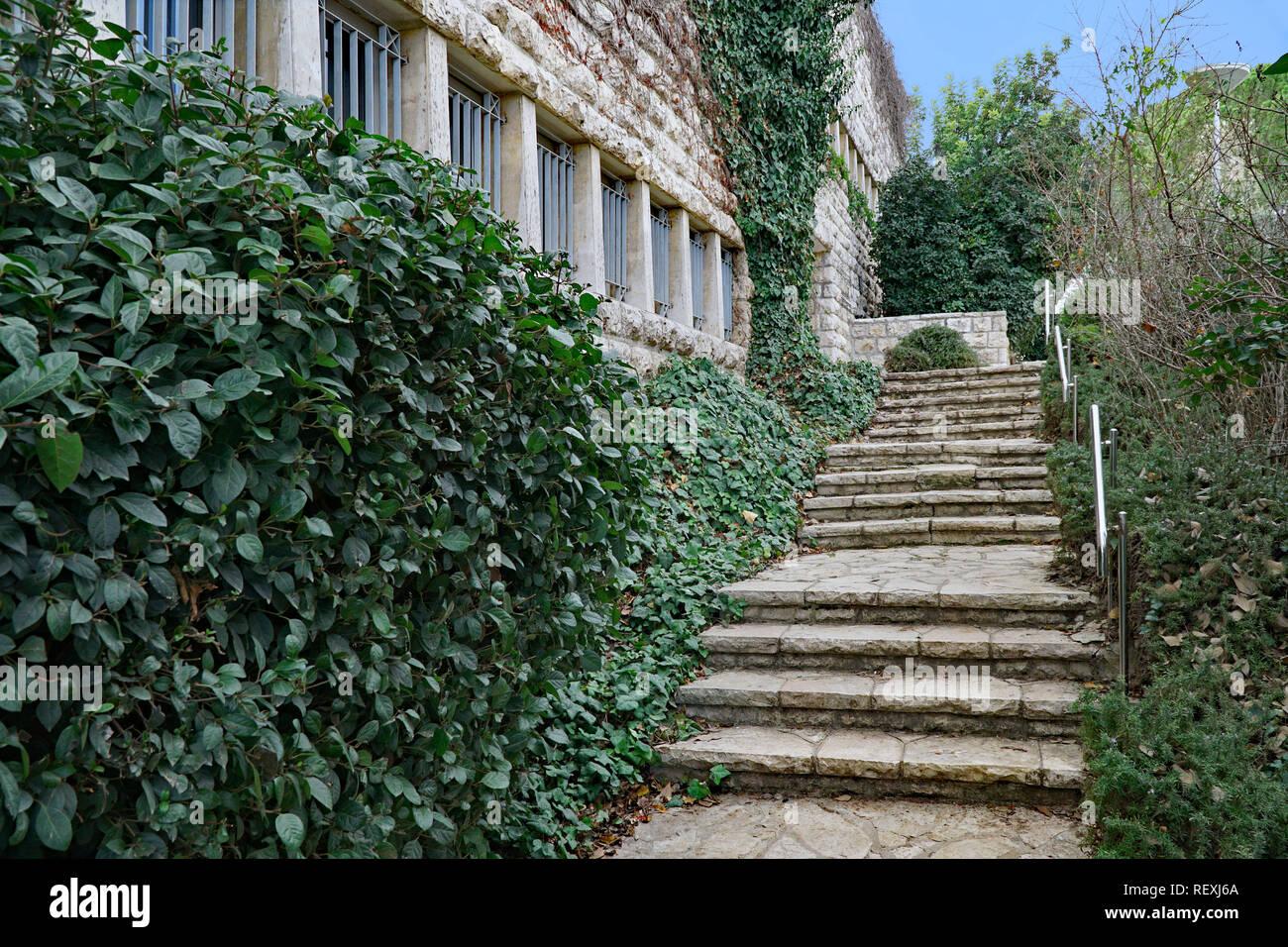 steps leading up to the entrance of an old stone university building, Hebrew University, Jerusalem, Givat Ram - Stock Image