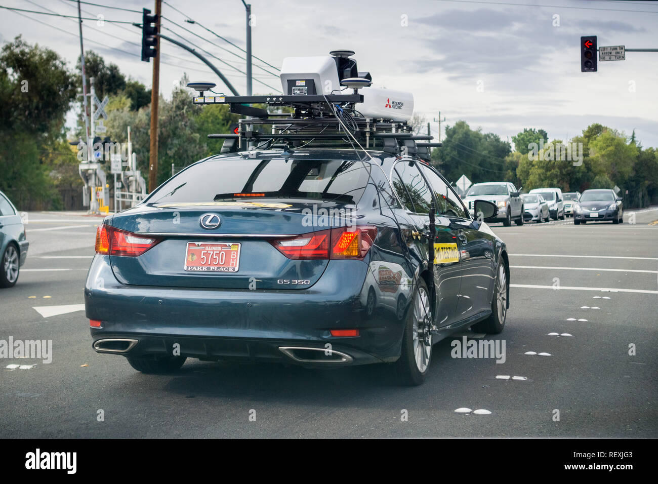November 20,2017 Mountain View/CA/USA - Mitsubishi Electric  Autonomous Driving System Field Testing; Vehicle sporting a roof-mounted mapping unit - Stock Image