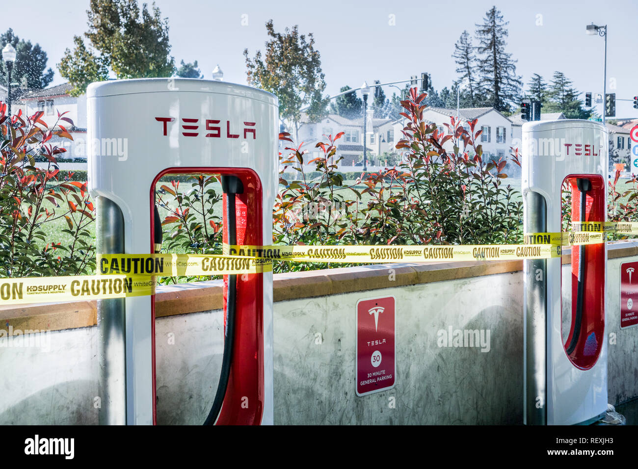 December 4, 2017 Sunnyvale/CA/USA - New Tesla charging station about to open in downtown Sunnyvale, Silicon Valley, San Francisco bay - Stock Image