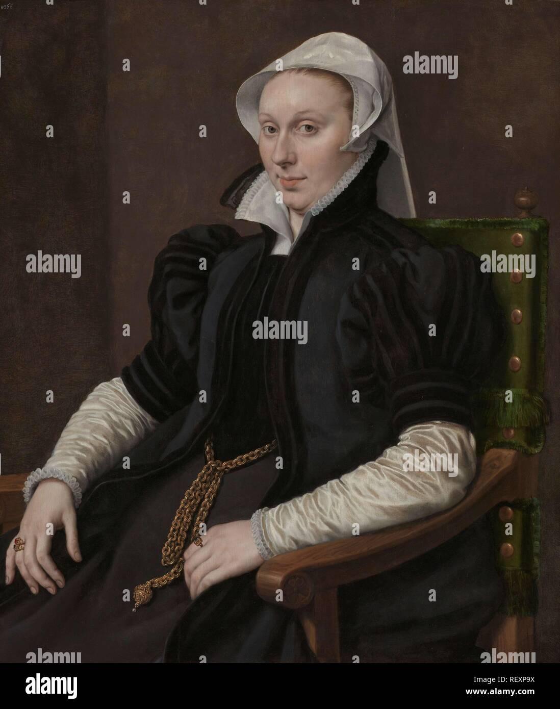 Portraits of Sir Thomas Gresham and Anne Fernely. Portrait of Anne Fernely. Wife of Sir Thomas Gresham. Dating: c. 1560 - c. 1565. Place: Antwerp. Measurements: h 88 cm × w 75.5 cm. Museum: Rijksmuseum, Amsterdam. Author: Anthonis Mor. - Stock Image