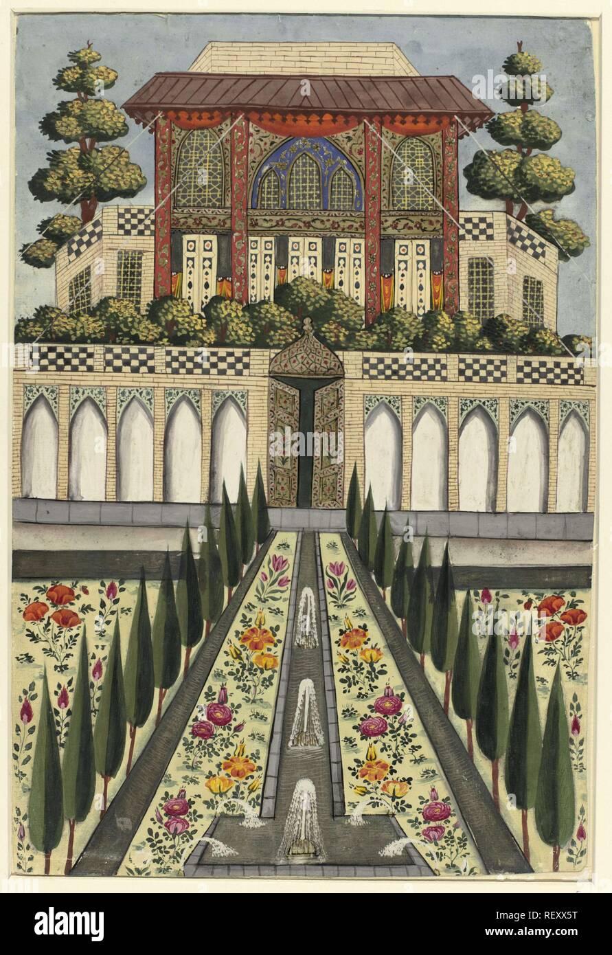 Palace Garden of Hazar Jarib in Aliabad. Draughtsman: anonymous. Dating: 1600 - 1649. Place: Iran. Measurements: h 330 mm × w 221 mm. Museum: Rijksmuseum, Amsterdam. - Stock Image