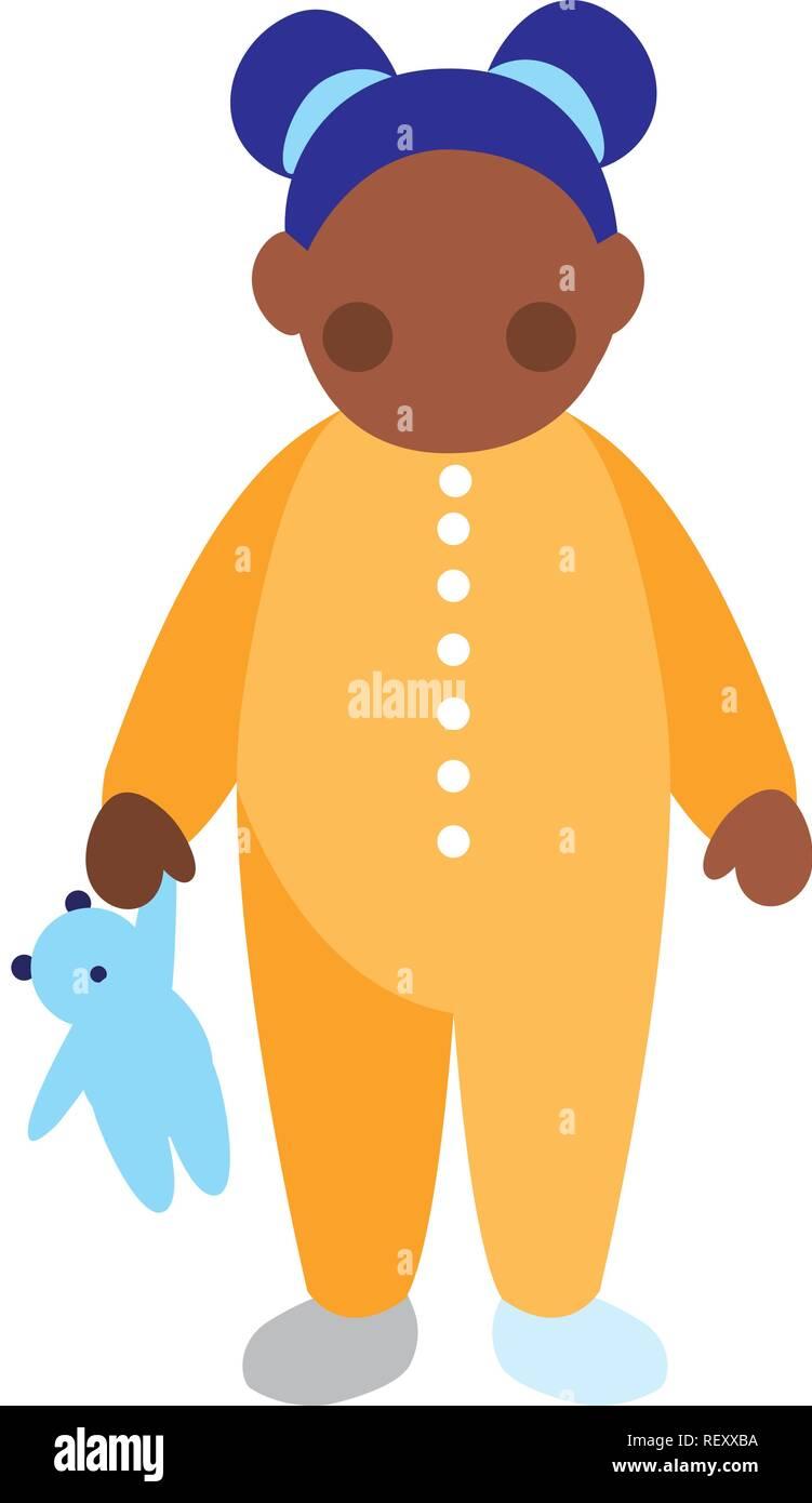 beautiful little black girl character vector illustration design - Stock Image
