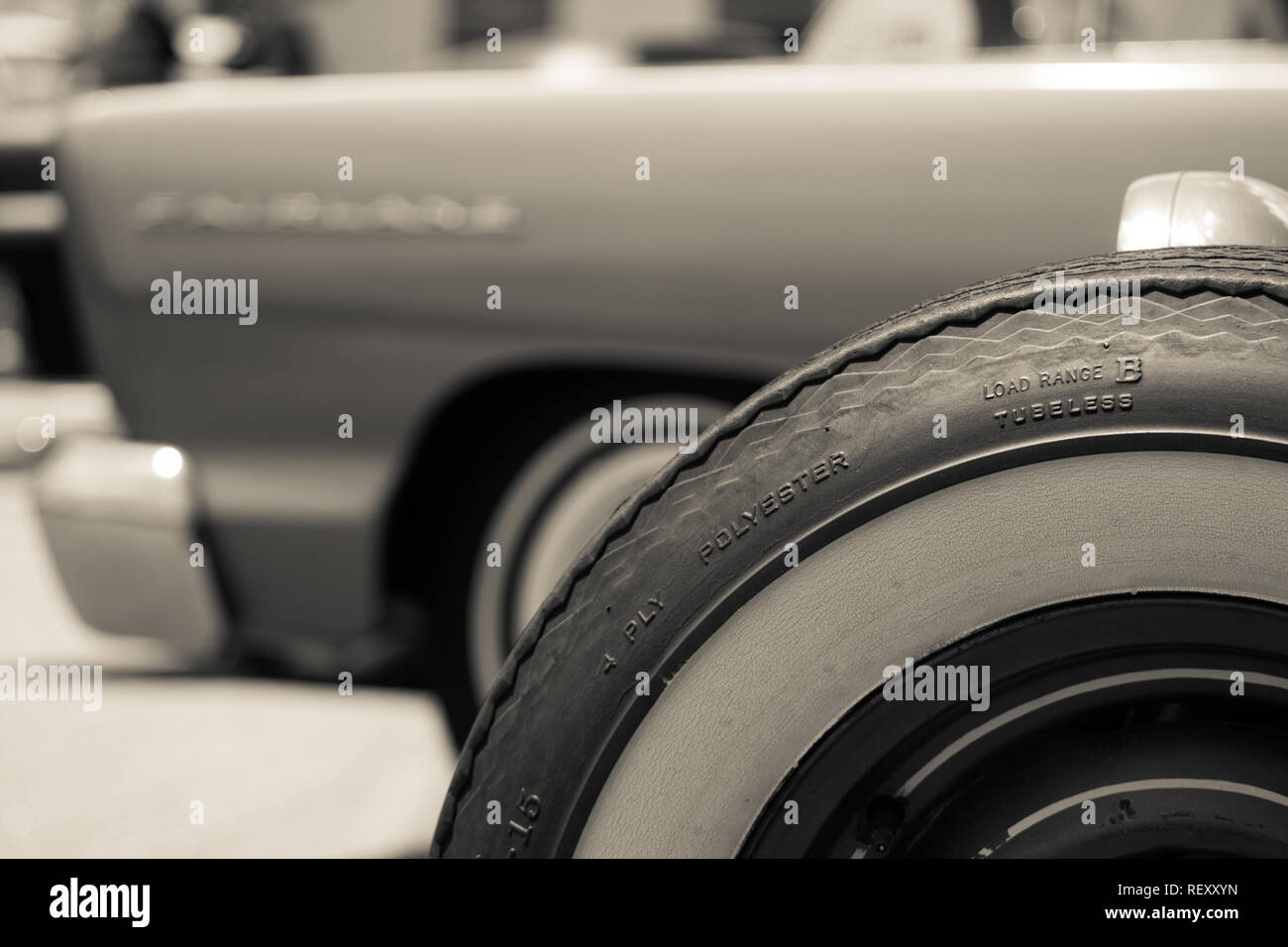 Vintage Whitewall Tire - Stock Image