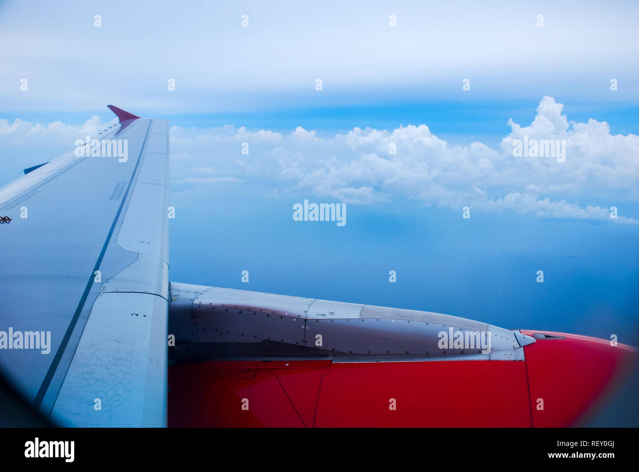Sky view from airplane. Aerial view from windows. Transportation Concept. Stock Photo