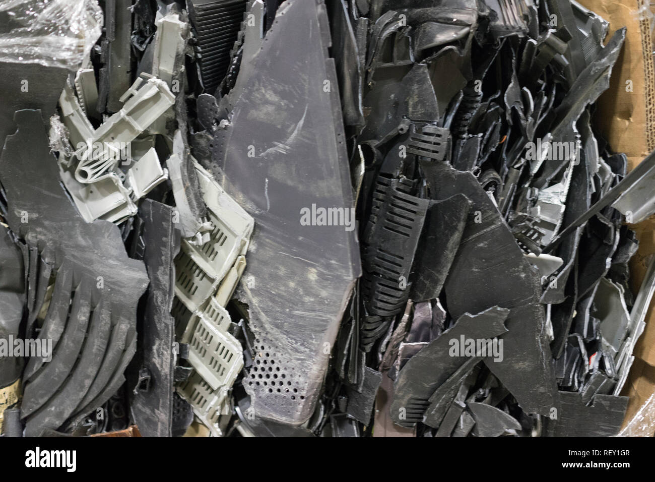 Computer trash waste recycle technological electronic waste awaiting to be dismantles as electronic recyclable waste. - Stock Image