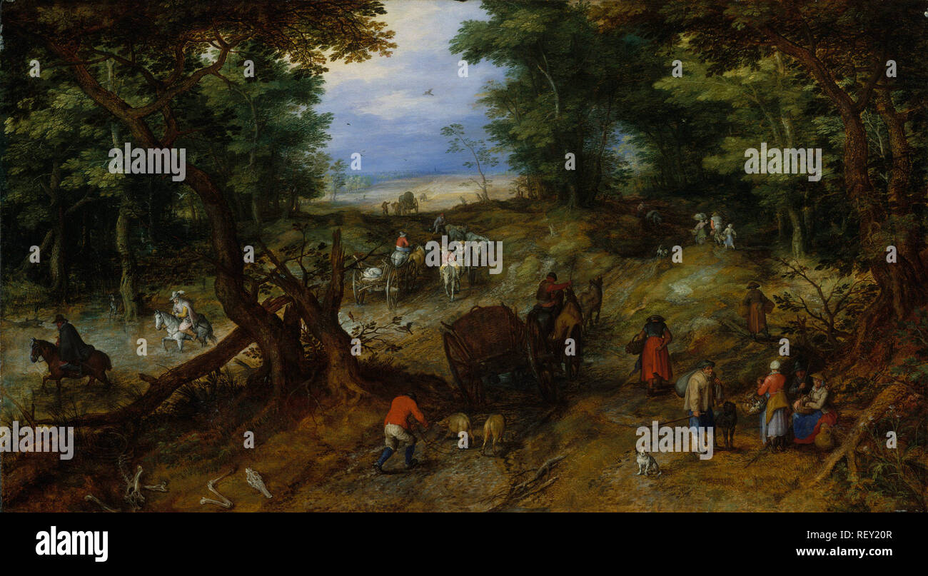 Working Title/Artist: Brueghel, A Woodland Road with Travelers Department: European Paintings Culture/Period/Location:  HB/TOA Date Code:  Working Date:  photography by mma, DT10768.tif touched by film and media (jnc) 9_30_08 - Stock Image