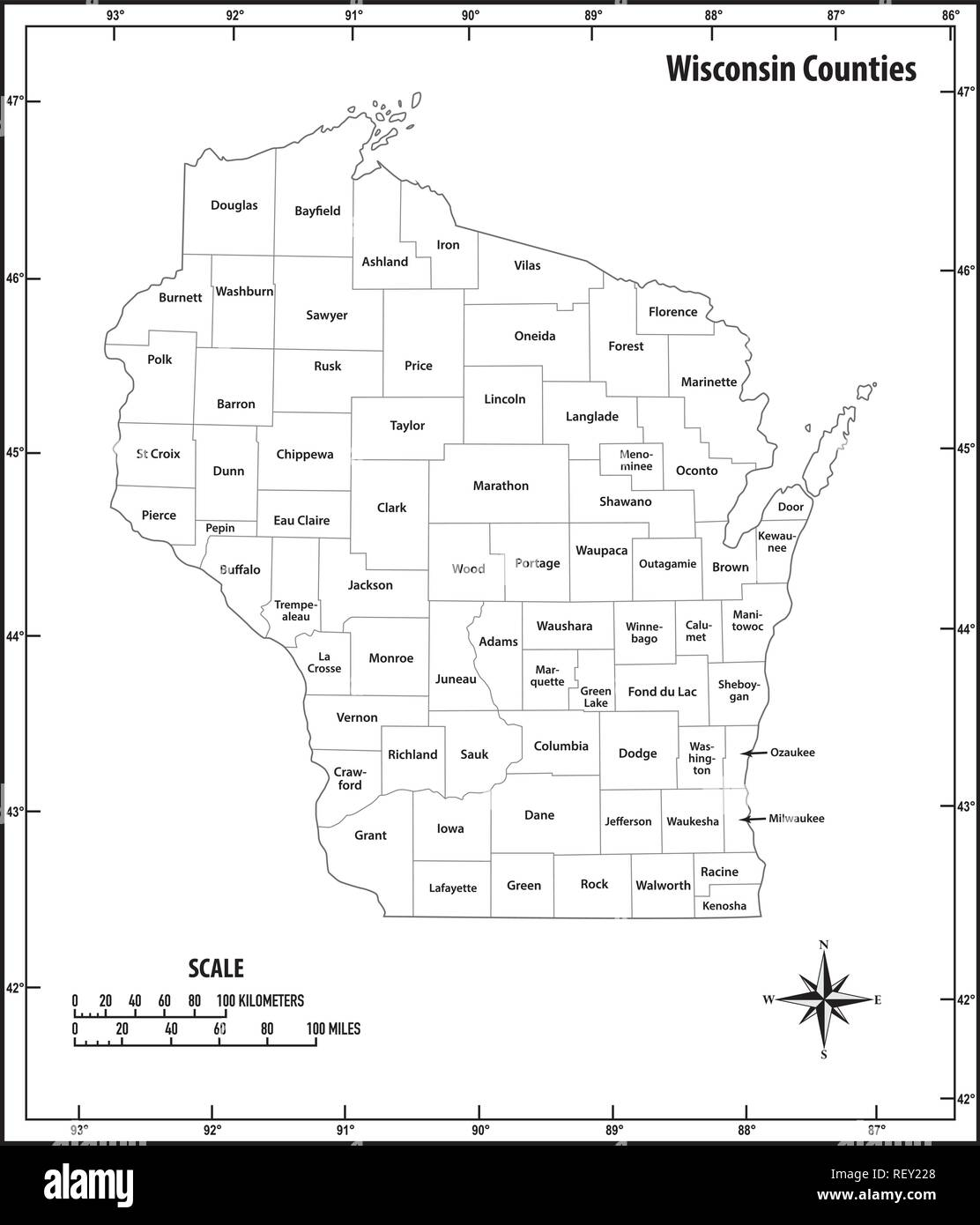 wisconsin state outline administrative and political vector map in black and white - Stock Image