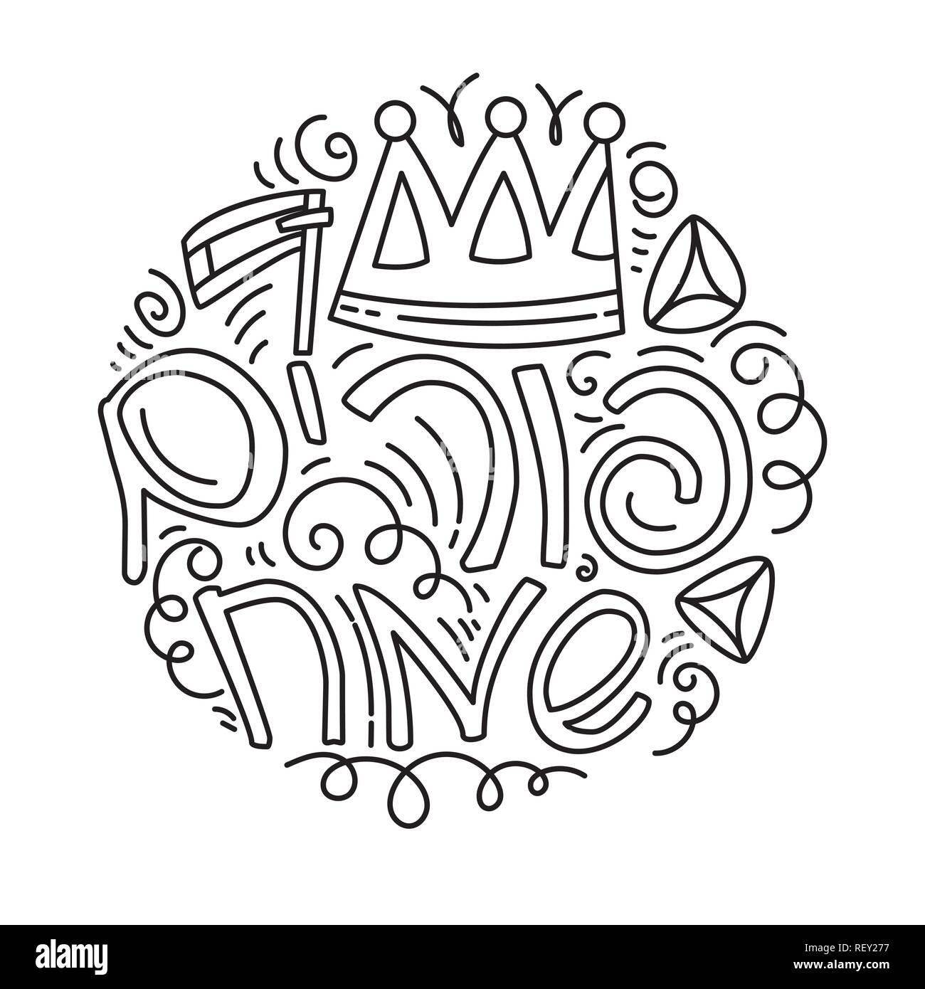 Purim greeting card and coloring page in doodle style with crown, noise make, hamantaschen and Hebrew text Happy Purim. Black and white vector illustration. - Stock Image