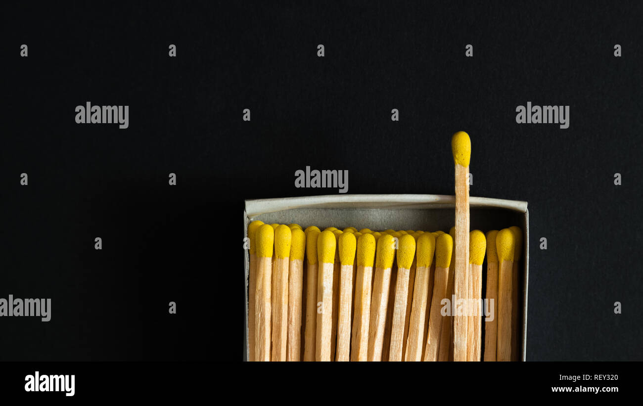Matches with yellow heads in a box, dark background. Macro photography. Matches in open match-box - Stock Image