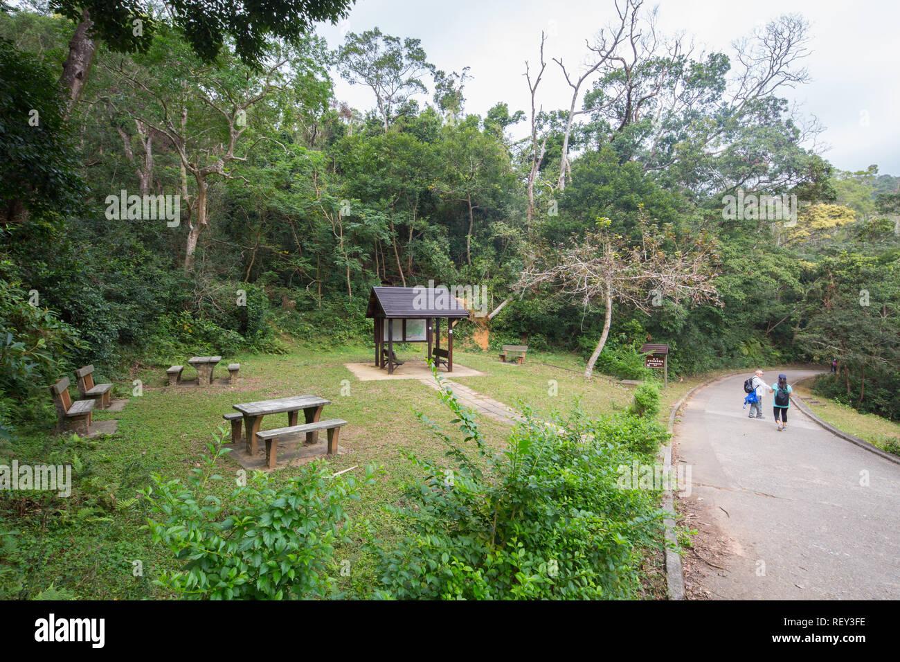 A pinic site at Shing Mun Country Park at Lo Wai, Hong Kong. - Stock Image