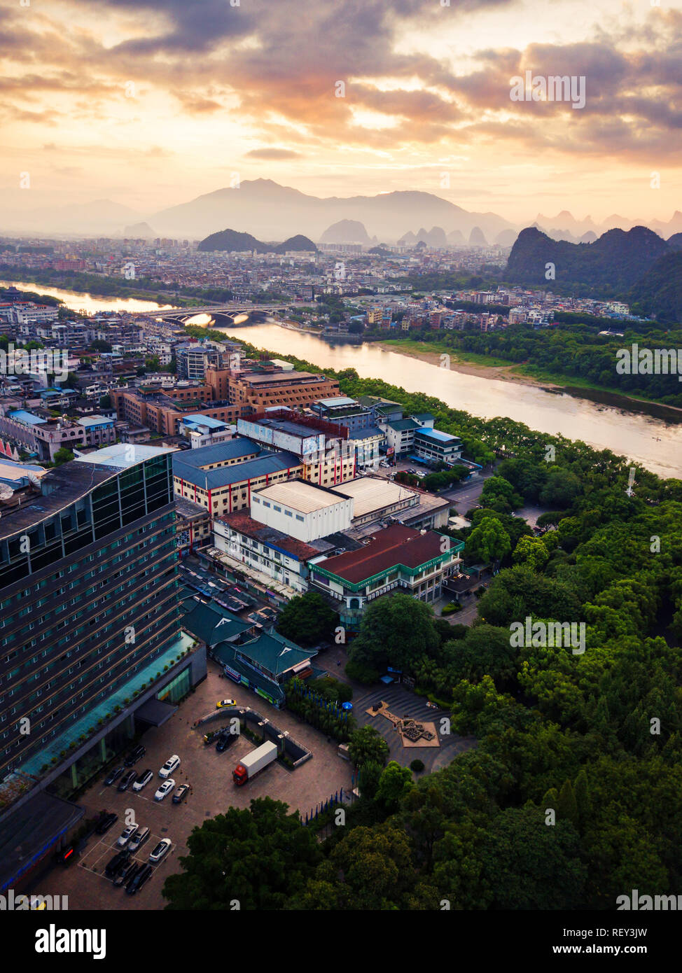 Beautiful sunrise over Li river in Guilin, China aerial view Stock Photo