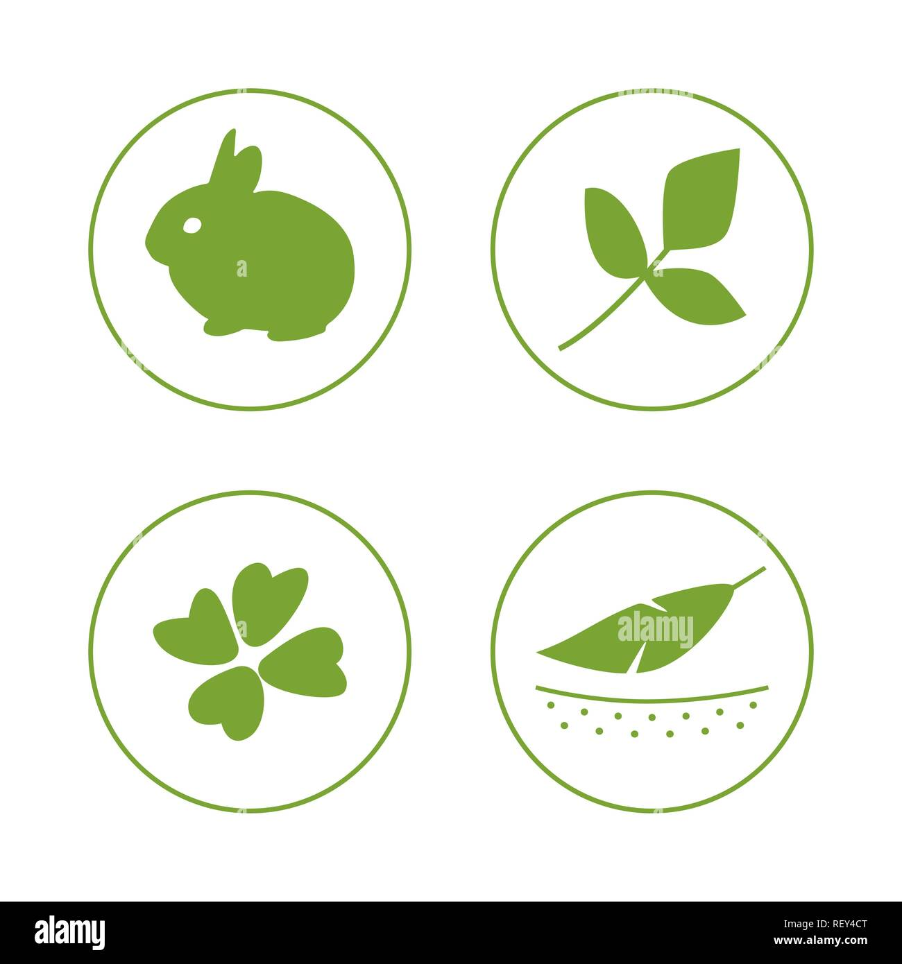 Vector set of logo design template, icons and badges for natural and organic cosmetics - cruelty free, not tested on animals Stock Vector