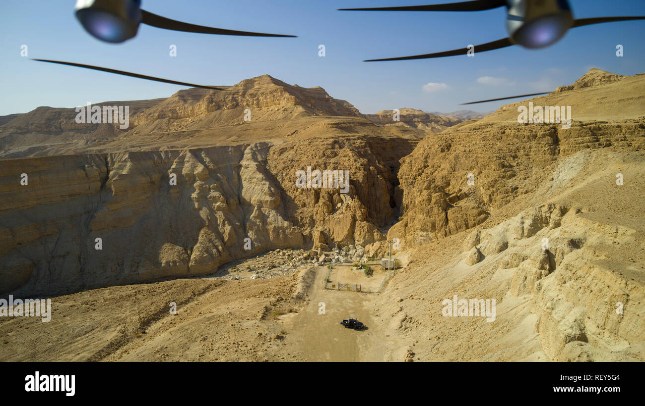 Aerial Photography with a drone. The drone's propellors can be seen. Photographed on the shore of the Dead Sea, Israel. - Stock Image