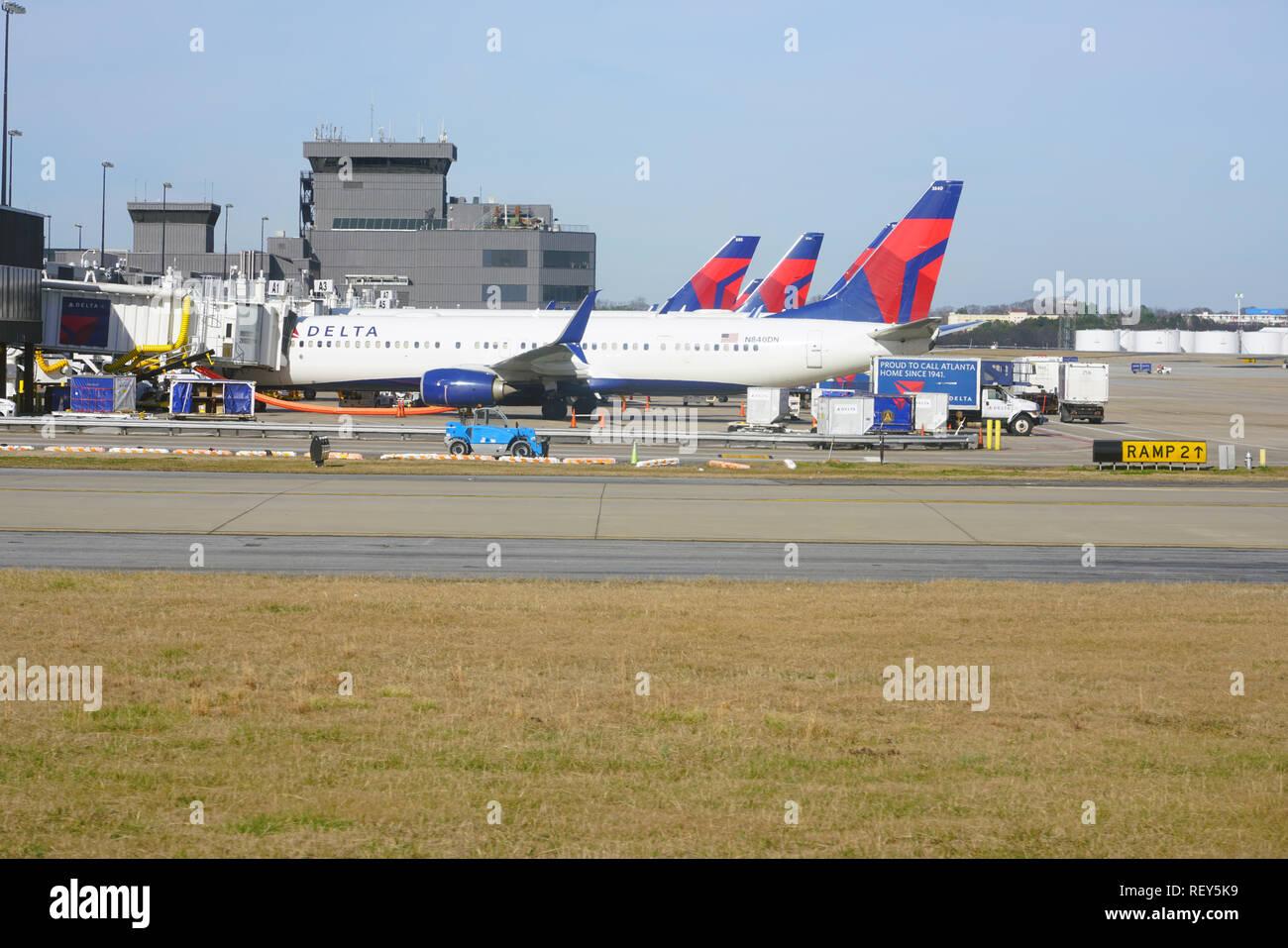 ATLANTA, GA -7 JAN 2019-  View of airplanes from Delta Airlines (DL) at the Hartsfield–Jackson Atlanta International Airport (ATL), a hub for Delta. - Stock Image