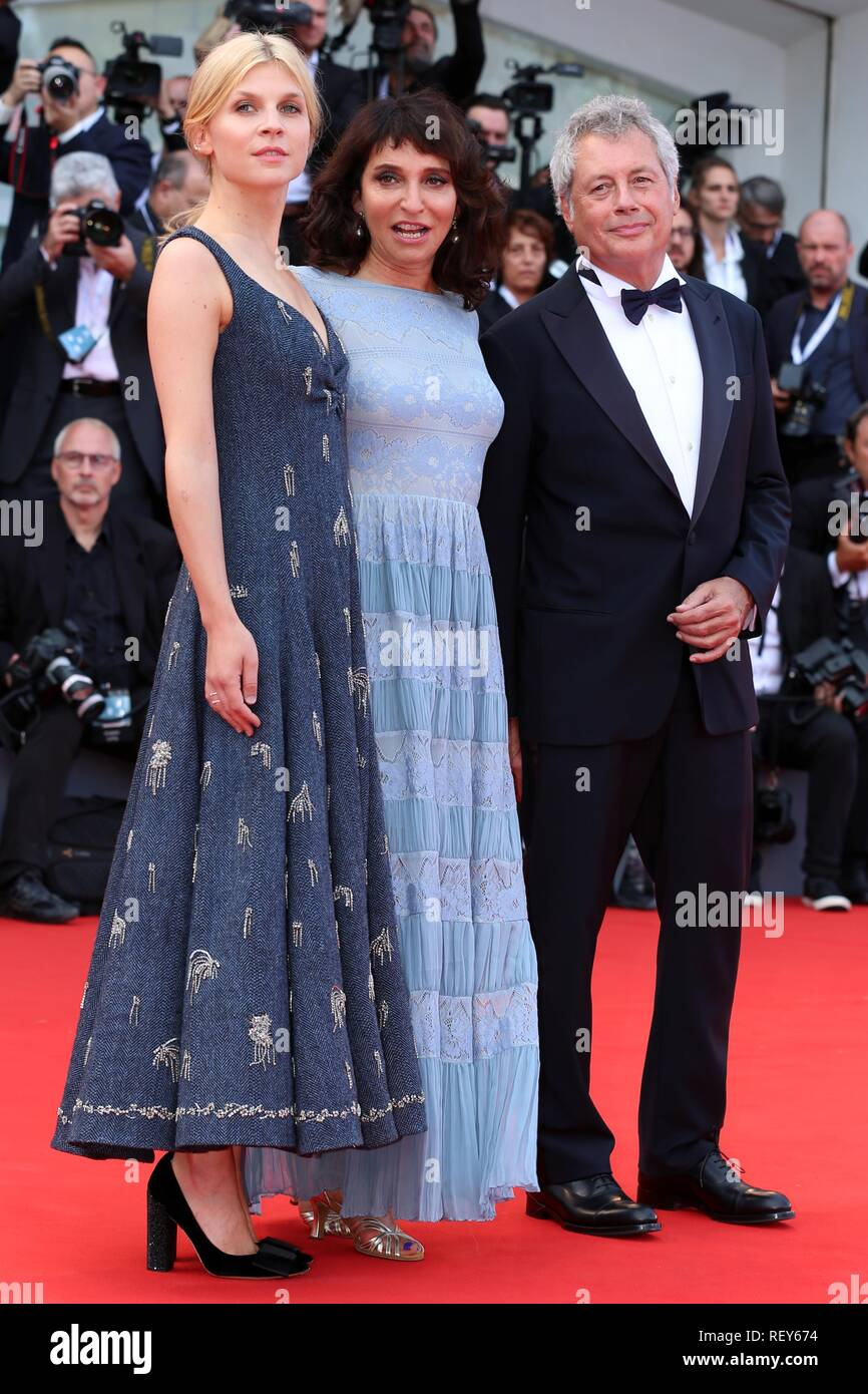 VENICE, ITALY – AUG 29, 2018: Clemence Poesy, Susanne Bier and Alessandro Baricco at the 'First Man' world premiere screening (Ph: Mickael Chavet) - Stock Image