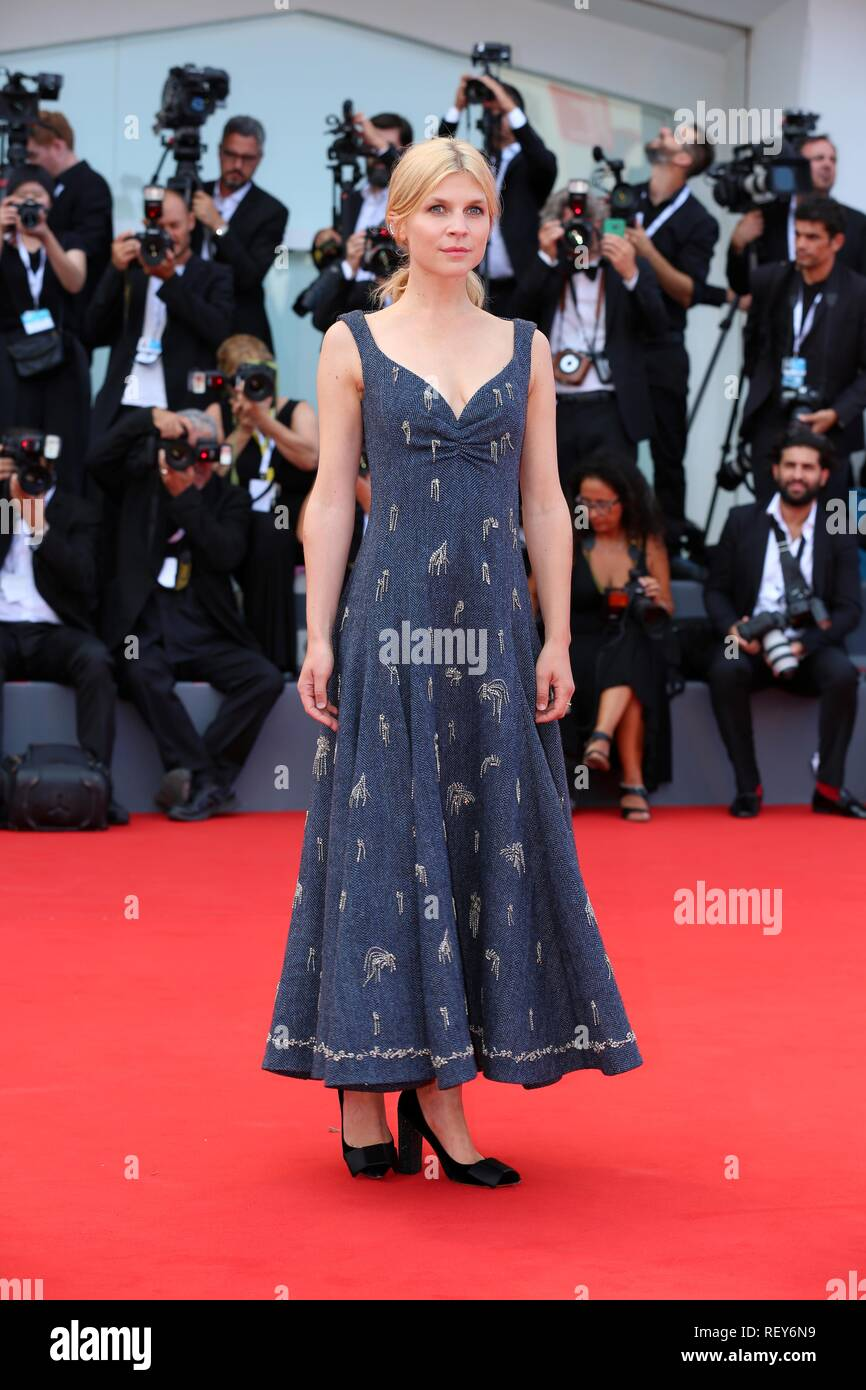 VENICE, ITALY – AUG 29, 2018: Clemence Poesy walks the red carpet ahead of the 'First Man' screening at the Venice Film Festival (Ph: Mickael Chavet) - Stock Image