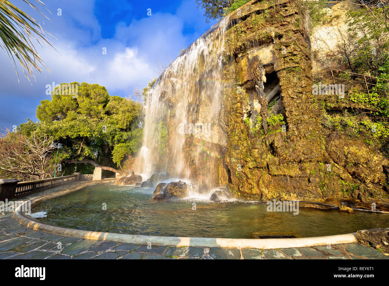The waterfall Cascade Du Casteu at the park in Nice, tourist landmark of French riviera, Alpes Maritimes department of France Stock Photo