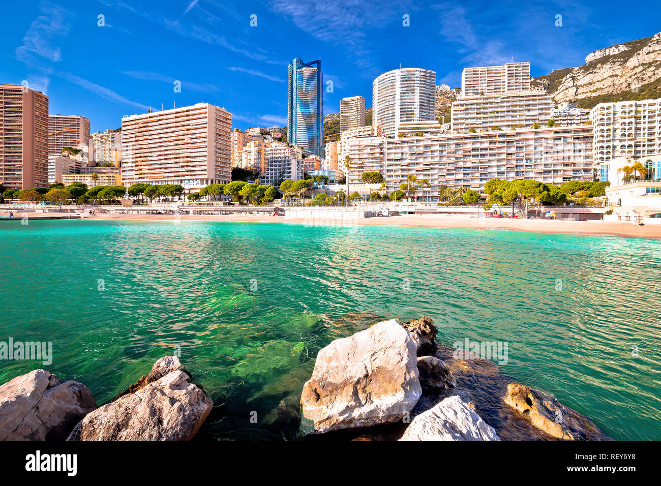 Les Plages skyline and emerald beach view, Principality of Monaco - Stock Image