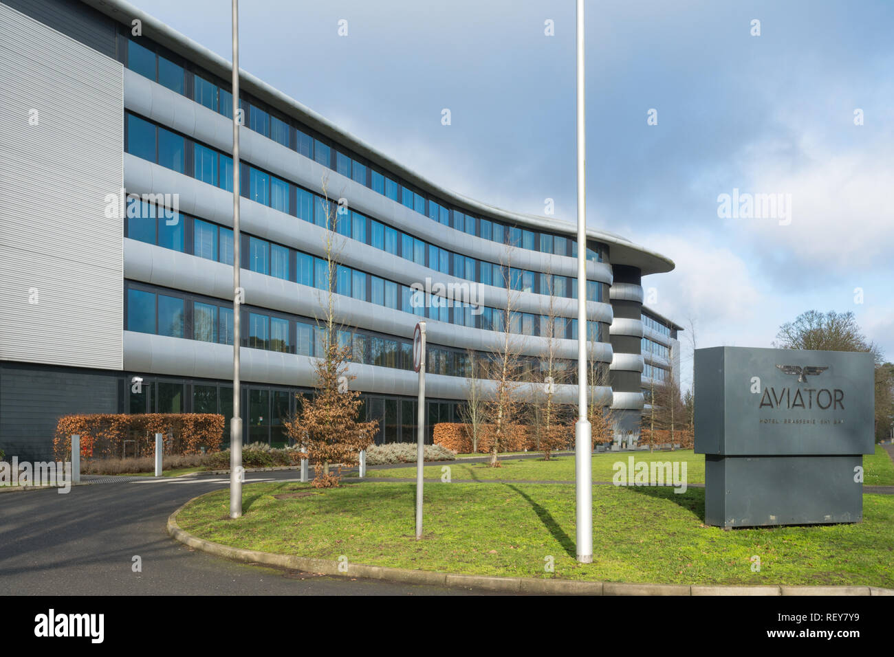 The Aviator Hotel, an upscale hotel, wedding and events venue close to Farnborough Airport, Hampshire, UK - Stock Image