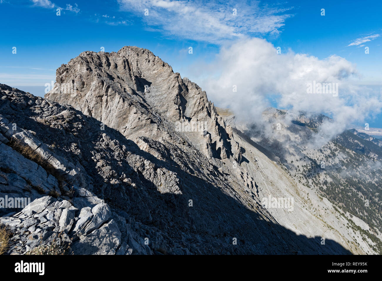 View of Mytikas ,the highest peak of Mount Olympus in Greece, home of the ancient Greek gods - Stock Image