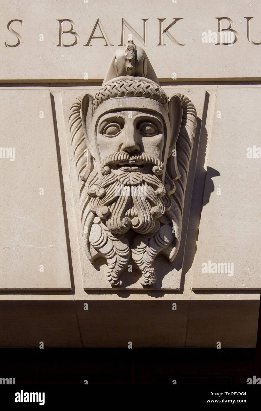 Carved head, Martin's Bank Building, Exchange Flags Liverpool - Stock Image