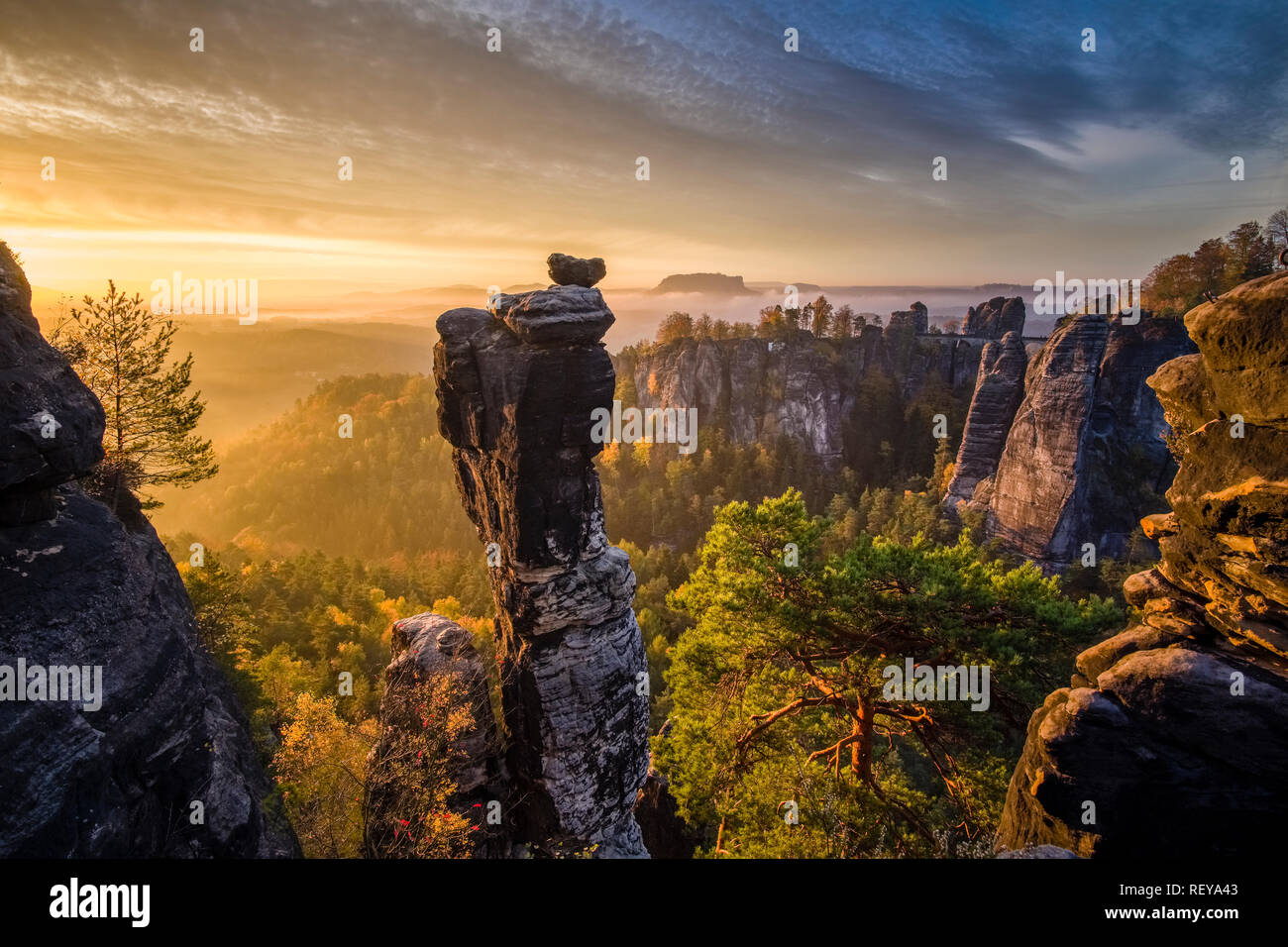 Landscape in the National Park Sächsische Schweiz with rock formations around Bastei, trees and fog at sunrise Stock Photo